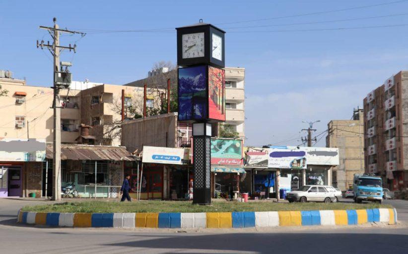 نصب المان ساعت گردان در میدان بازارچه منطقه هشت بنگله