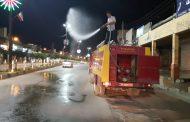 ضدعفونی سطح شهر مسجدسلیمان در شب سیزدهم فروردین توسط شهرداری مسجدسلیمان