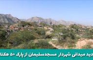 بازدید میدانی دکتر شعبانی شهردار مسجدسلیمان از روند پروژه پارک ۵۰ هکتاری در منطقه تمبی