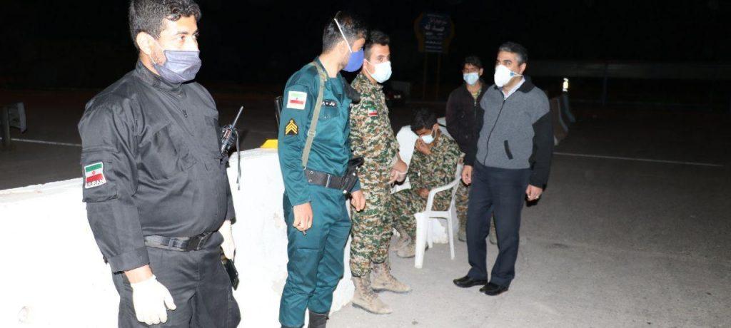 بازدید دکتر شعبانی شهردار مسجدسلیمان از کنترل مبادی ورودی شهر به جهت جلوگیری از شیوع کرونا در روز ۱۳ بدر